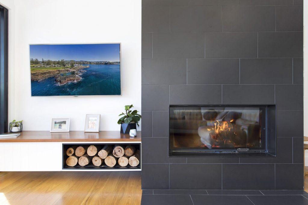 Stunning, Modern Design, FirePlace & Fire Wood Rack – New Home Builders Illawarra – Builders Illawarra