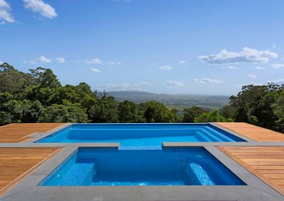 Modern Two Part Swimming Pool With Gorgeous Wooden Decking Surroundings - New Home Builders Illawarra - Builders Illawarra