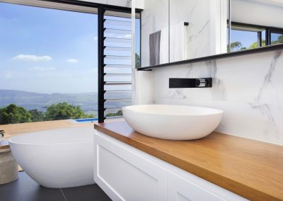 Modern White & Natural Timber Bathroom With Huge Window & Great View - New Home Builders Illawarra - Builders Illawarra
