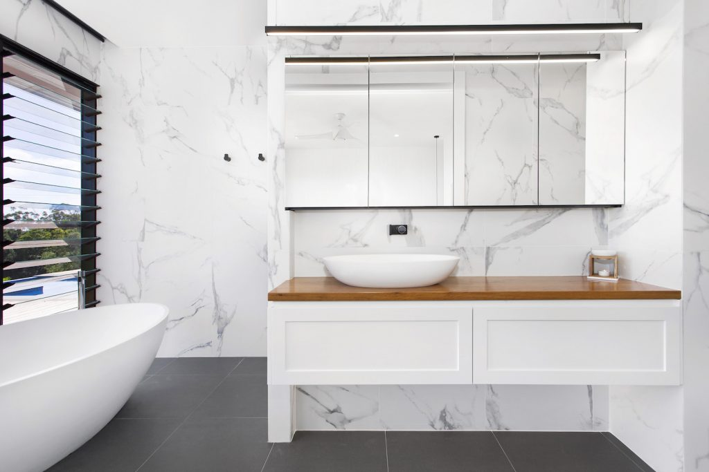 Crisp White Spacious Luxurious New Bathroom With Vanity – New Home Builders Illawarra – Builders Illawarra