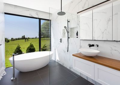 Modern White Bathroom Offset With Gorgeous Timber - New Home Builders Illawarra - Builders Illawarra