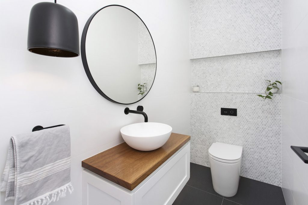 Modern White Bathroom Offset With Gorgeous Timber – New Home Builders Illawarra – Builders Illawarra