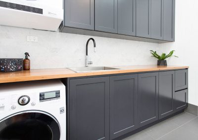Stunningly Modern Laundry - Charcoal Grey & Natural Timber - New Home Builders Illawarra - Builders Illawarra
