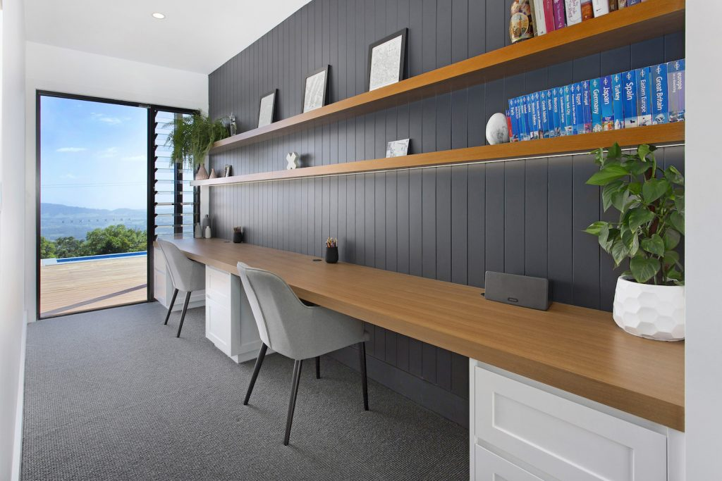 Modern White Charcoal & Timber Office Space – New Home Builders Illawarra – Builders Illawarra