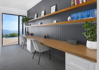 Modern White Charcoal & Timber Office Space - New Home Builders Illawarra - Builders Illawarra