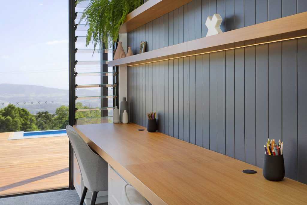 Long Modern Office Space With A Modern Yet Natural Wooden Feel, Walk Out To A Beautiful Deck Area – New Home Builders Illawarra – Builders Illawarra