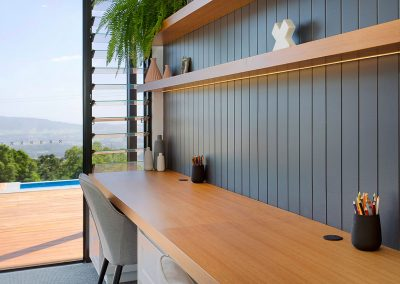 Long Modern Office Space With A Modern Yet Natural Wooden Feel, Walk Out To A Beautiful Deck Area - New Home Builders Illawarra - Builders Illawarra