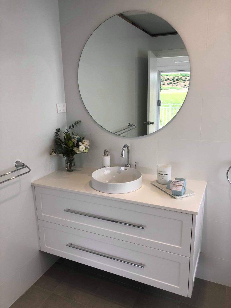 Modern Round Bathroom Sink & Large Round Mirror In New Bathroom – Builders Illawarra