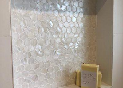 Gorgeous Mother Of Pearl Bathroom Shelf Built Into Bathroom Wall - Builders Illawarra