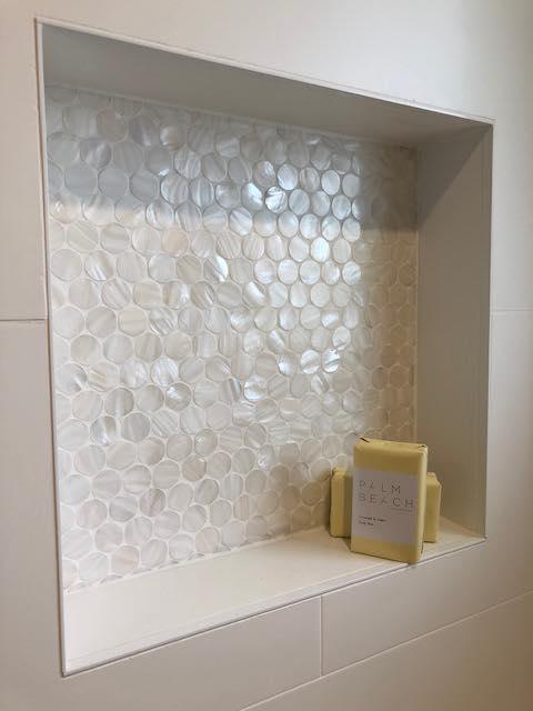 Gorgeous Mother Of Pearl Bathroom Shelf Built Into Bathroom Wall – Builders Illawarra