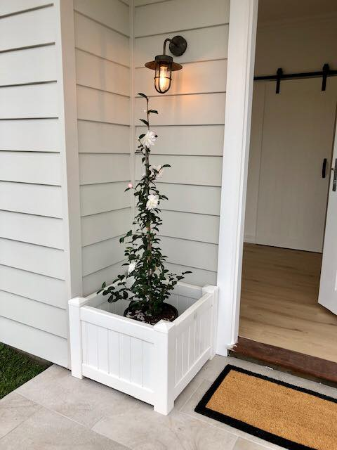 White Timber Planter Box By The Front Door – Builders Illawarra